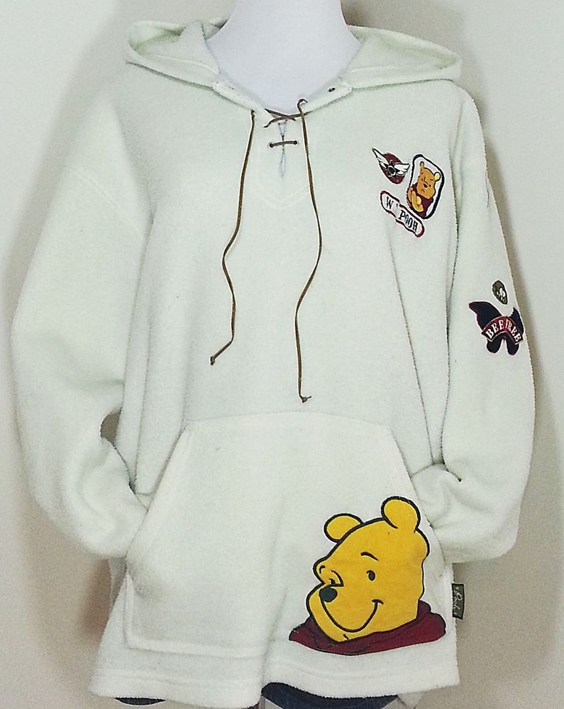 7daa5380d55f Disney Adult Winnie the Pooh Off White Fleece Hoodie Size XL Bee Free   Disney  Hoodie