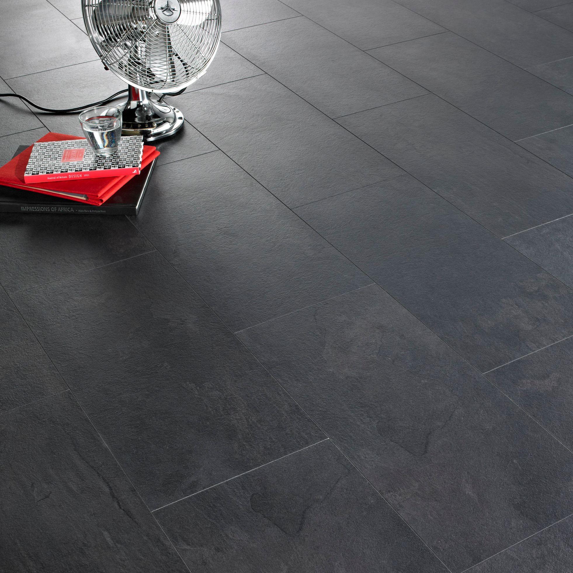 Colours Harmonia Black Slate Tile Effect Laminate Flooring 2.05m² Pack | Departments | DIY at B&Q
