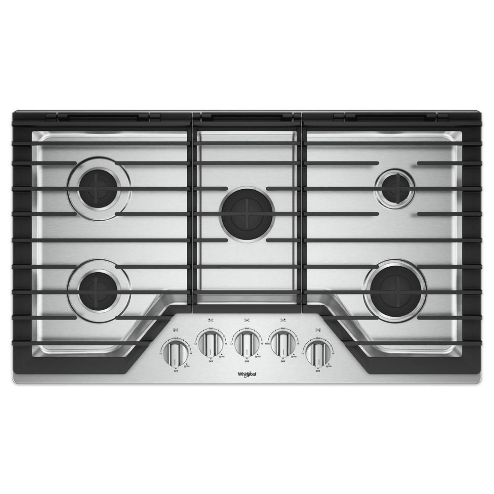 Whirlpool 36 In Gas Cooktop In Stainless Steel With 5 Burners And Ez 2 Lift Hinged Cast Iron Grates Silver Built In Ovens
