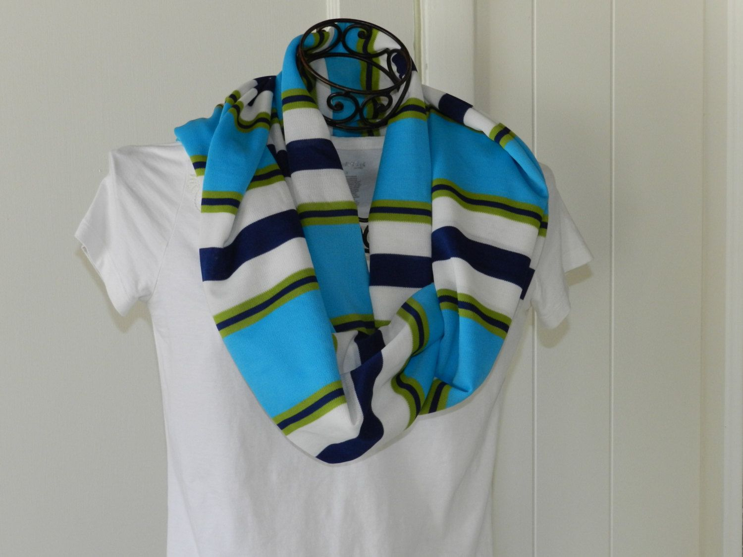 INFINITY SCARF- TEAL Striped by thevermontbaglady on Etsy