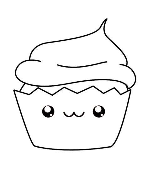 Kawaii Cupcake Coloring Page Proyectos Que Intentar Dibujos