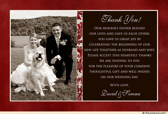 Classic Photo Wedding Thank You Card  Red Cream Elegance  Thank
