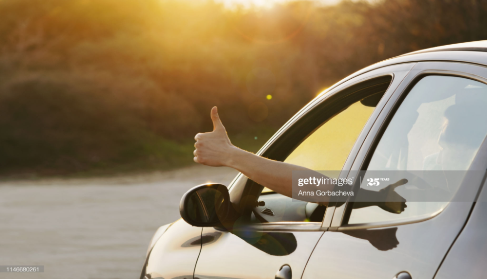 Man Showing Thumbs Up From Car Window Vacation And Travel Concept Man Photo Stock Photos Man