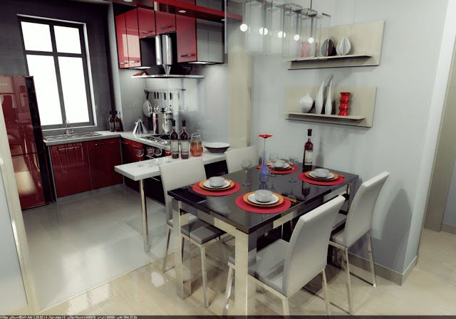 3Ds max modern kitchen and dining room model free download
