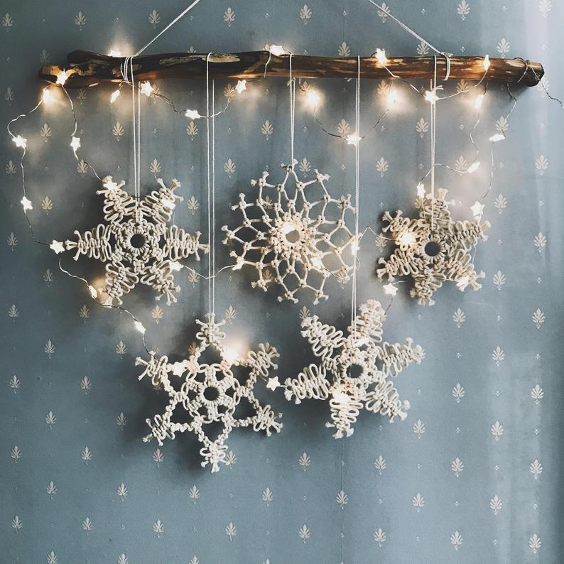 Macrame Snowflake Christmas Decor Snowflake Ornament ...
