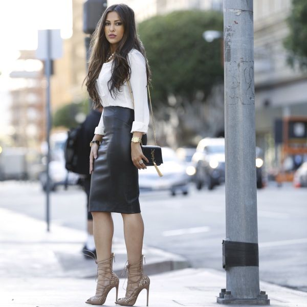 Leather Skirt And Blouse - Dress Ala