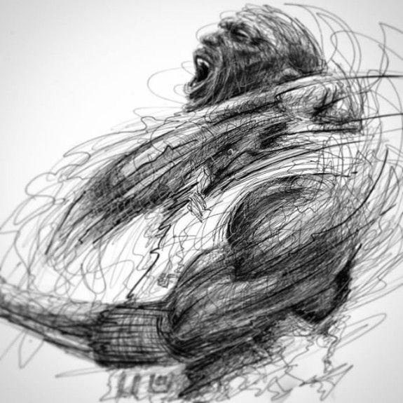 Scribble Sketch Drawing : Michael jordan scribble scream sketch artwork