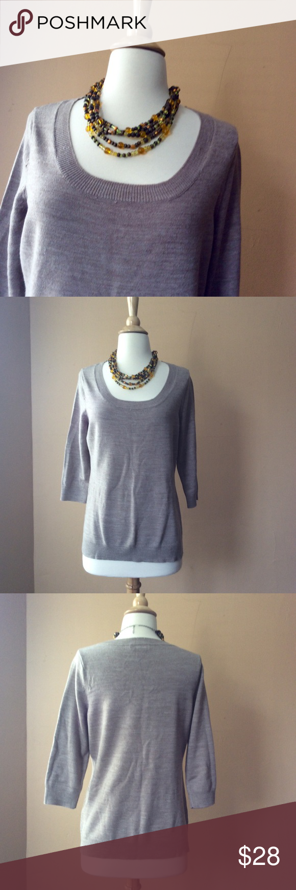 NY&Co. Round neck pullover NY&Co. Round neck pullover, color sand, 3/4 sleeves, soft at touch, 100% Acrylic  25inches long from shoulder down, Bust 18inches New York & Company Sweaters Crew & Scoop Necks