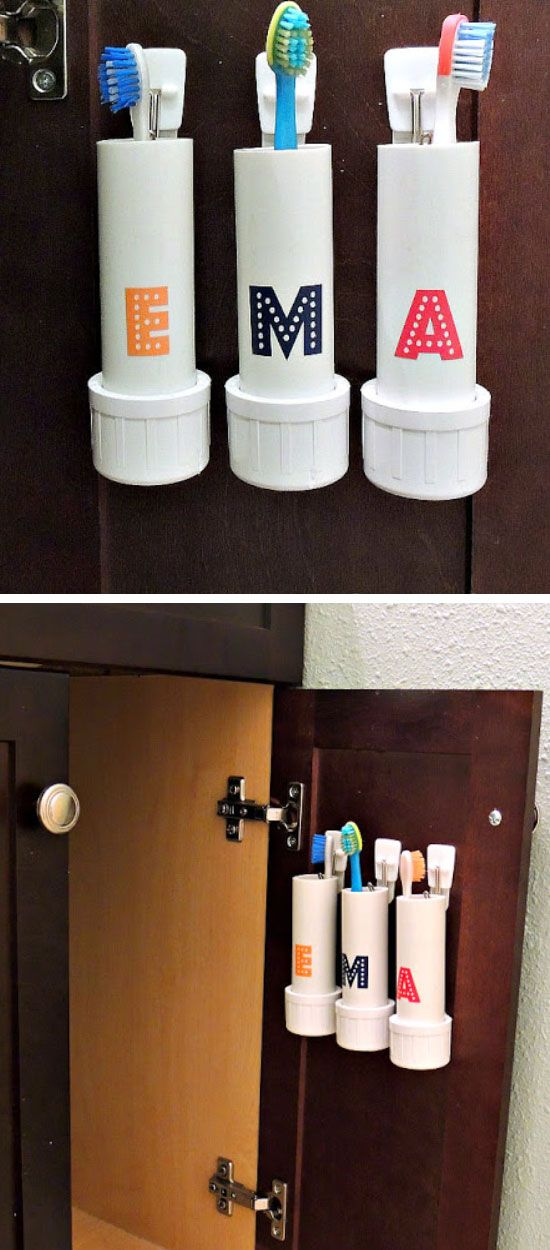 PVC Pipe Toothbrush Holders | Click Pic for 16 DIY Bathroom Storage Ideas on a Budget | DIY Bathroom Storage Ideas for Small Spaces