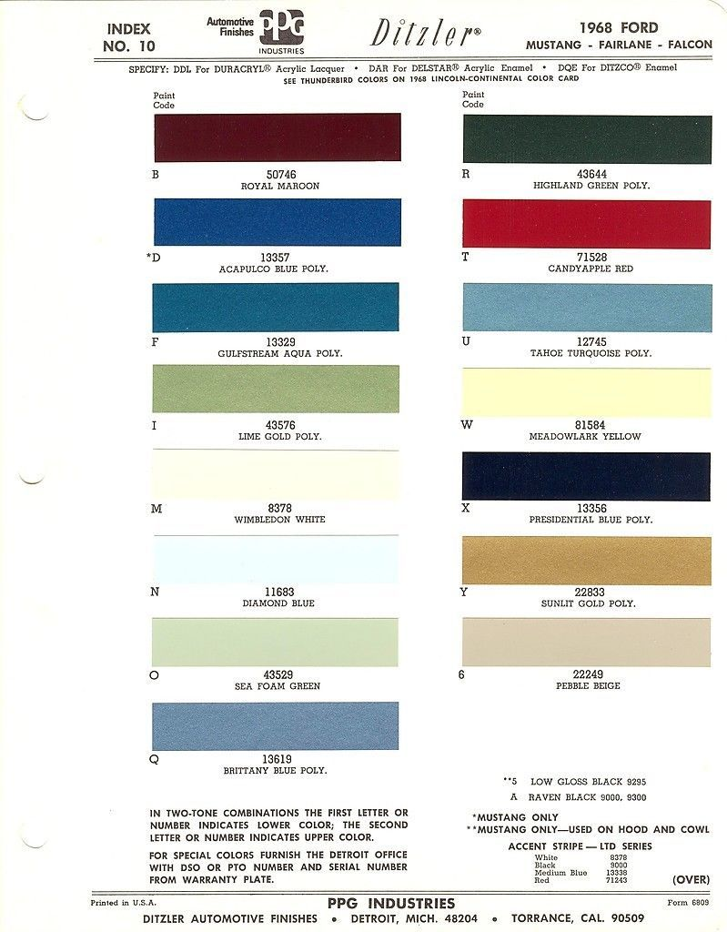 1968 FORD MUSTANG FAIRLANE FALCON GALAXIE TORINO PAINT CHIPS SHEET (PPG)