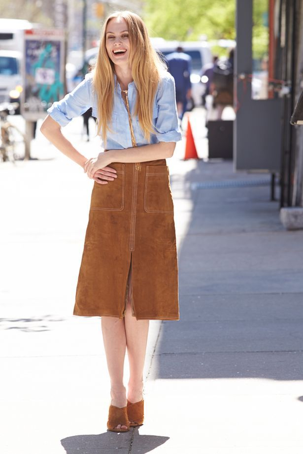 Brown suede skirt outfit – Modern skirts blog for you