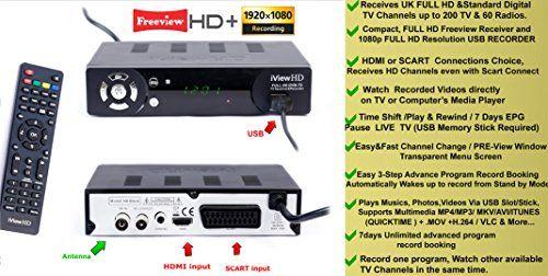 UK FULL HD 1080P FREEVIEW HD Set Top Box Digital TV Receiver & USB