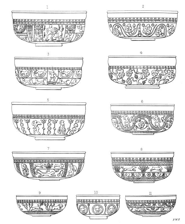 Examples of bowls in the famous Roman 'Samian ware' (in fact from Gaul)