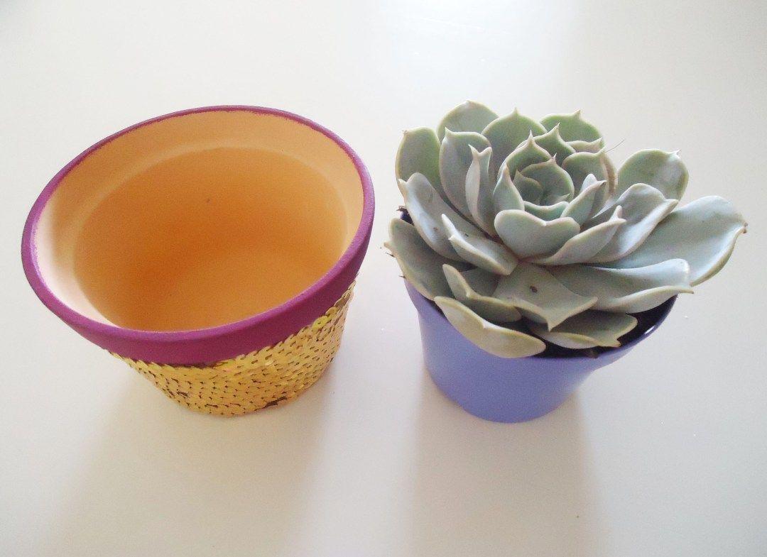 Vaso paetê suculenta Diy, Blog de decoração