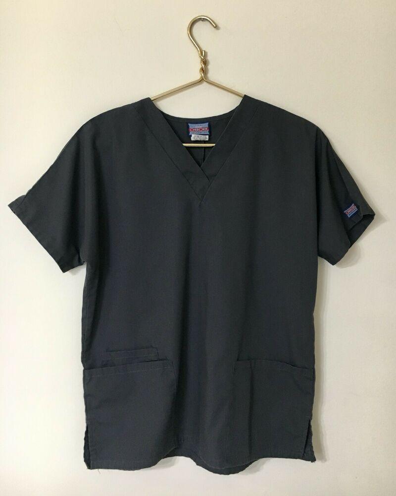 CHEROKEE Workwear Women's Size XS Scrub Top Gray Pewter ...