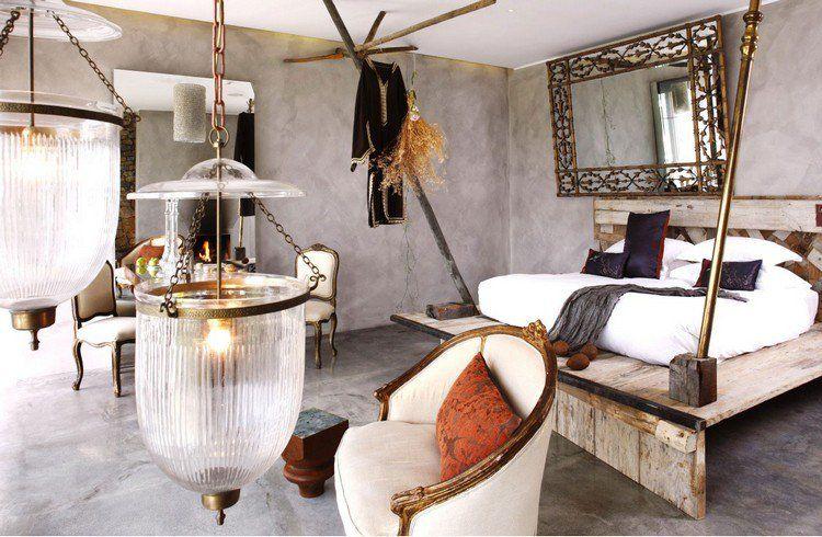 Chambre A Coucher En Beton Cire Meubles En Palettes De Bois Et Deco