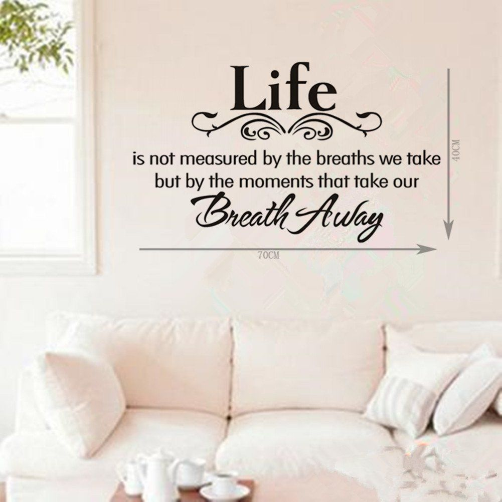 Life Is Not Measured By the Breaths We Take but By the Moments That Take Our Breath Away _'‡ DIY Inspirational Quotes Wall Decals Vinyl Removable Wall Sticker Lettering Saying Decor Olivia (Black, 15.9' X 23.6') >>> Awesome product. Click the image : home diy improvement
