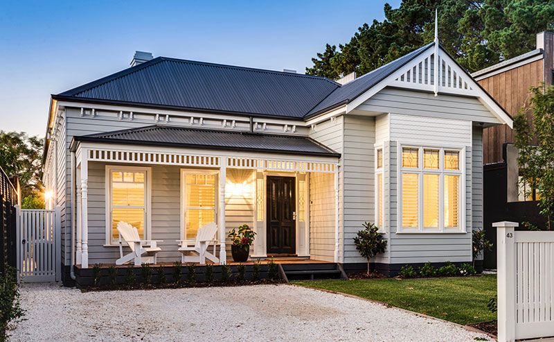 Similar colours to spinealive with a dark roof which do for Weatherboard house designs