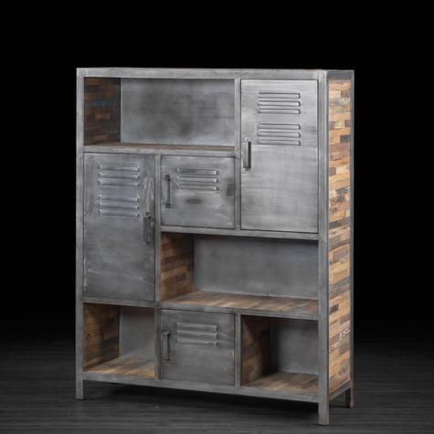 Grande biblioth que industrielle en m tal et bois recycl for Meuble artemano