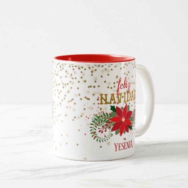 Feliz Navidad Gold Glitter Poinsettia Two-Tone Coffee Mug   Zazzle.com #goldglitterbackground Feliz Navidad Gold Glitter Poinsettia Two-Tone Coffee Mug , #AFFILIATE, #Poinsettia#Glitter#Coffee#Tone #Ad #goldglitterbackground