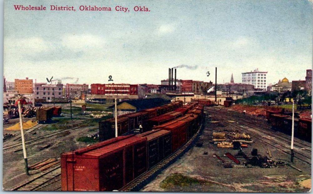 "Oklahoma City, OK Postcard ""Wholesale District"" Freight Trains Box Cars c1910s"