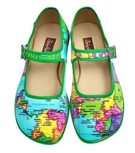 Hot Chocolate Design Chocolaticas Bon Voyage Women Mary Jane Flat world map  shoes! Great idea