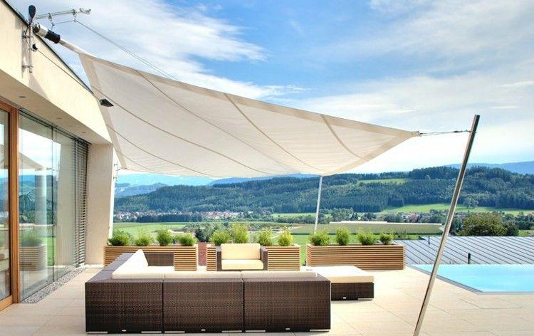 Toldos y parasoles de dise o moderno 50 ideas terrazas - Toldos velas para terrazas ...