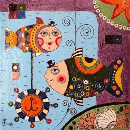 """Животные ручной работы. Ярмарка Мастеров - ручная работа Керамическое панно- плитка """"Рыбы"""". Handmade."""