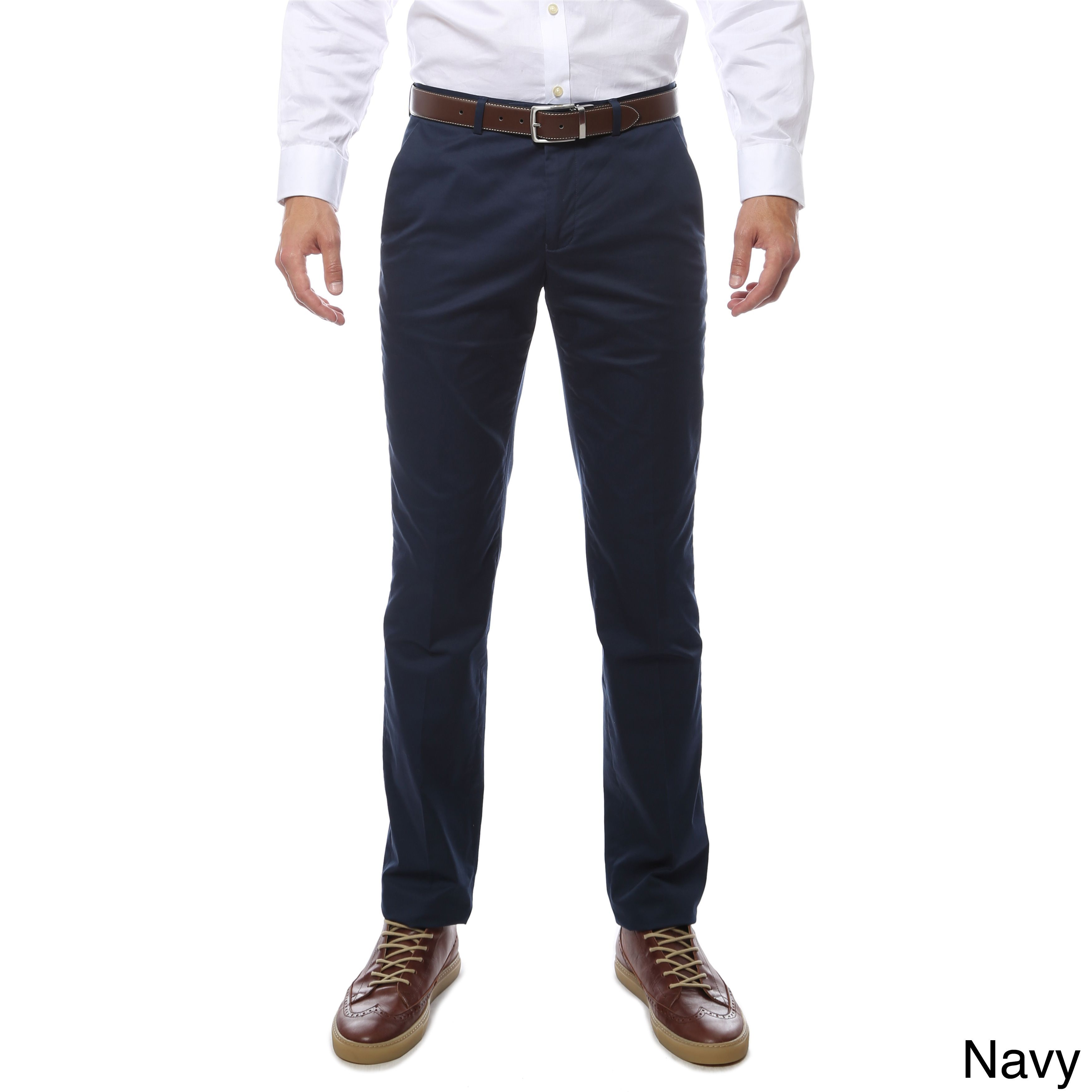 565259b6b2e Zonettie by Ferrecci Cotton Spandex Straight-leg Business-casual Chino Pants  (34 W 38 L - Navy - 34 Inch)