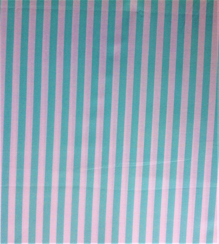 Aqua  and White Striped Cotton, Girls Fabric