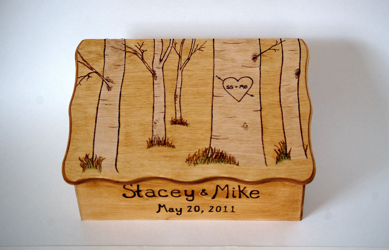 Personalized Wooden Aspen Tree Wedding Gift Card Box Or Gift Box