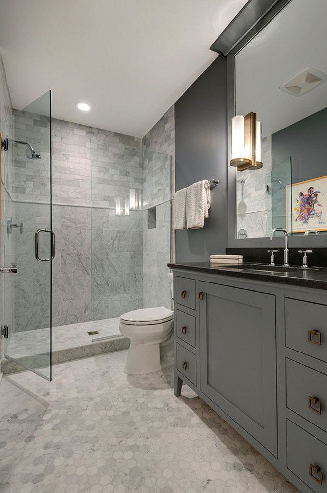 gray bathroom with hex marble floor tile floors homes