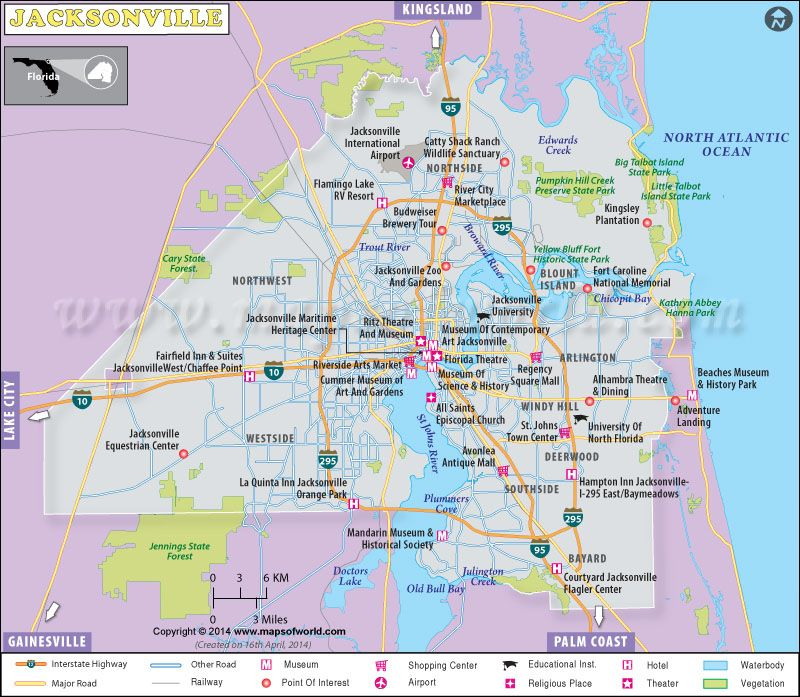 image relating to Printable Map of Jacksonville Fl known as Printable Jacksonville map Geography guidelines in just 2019