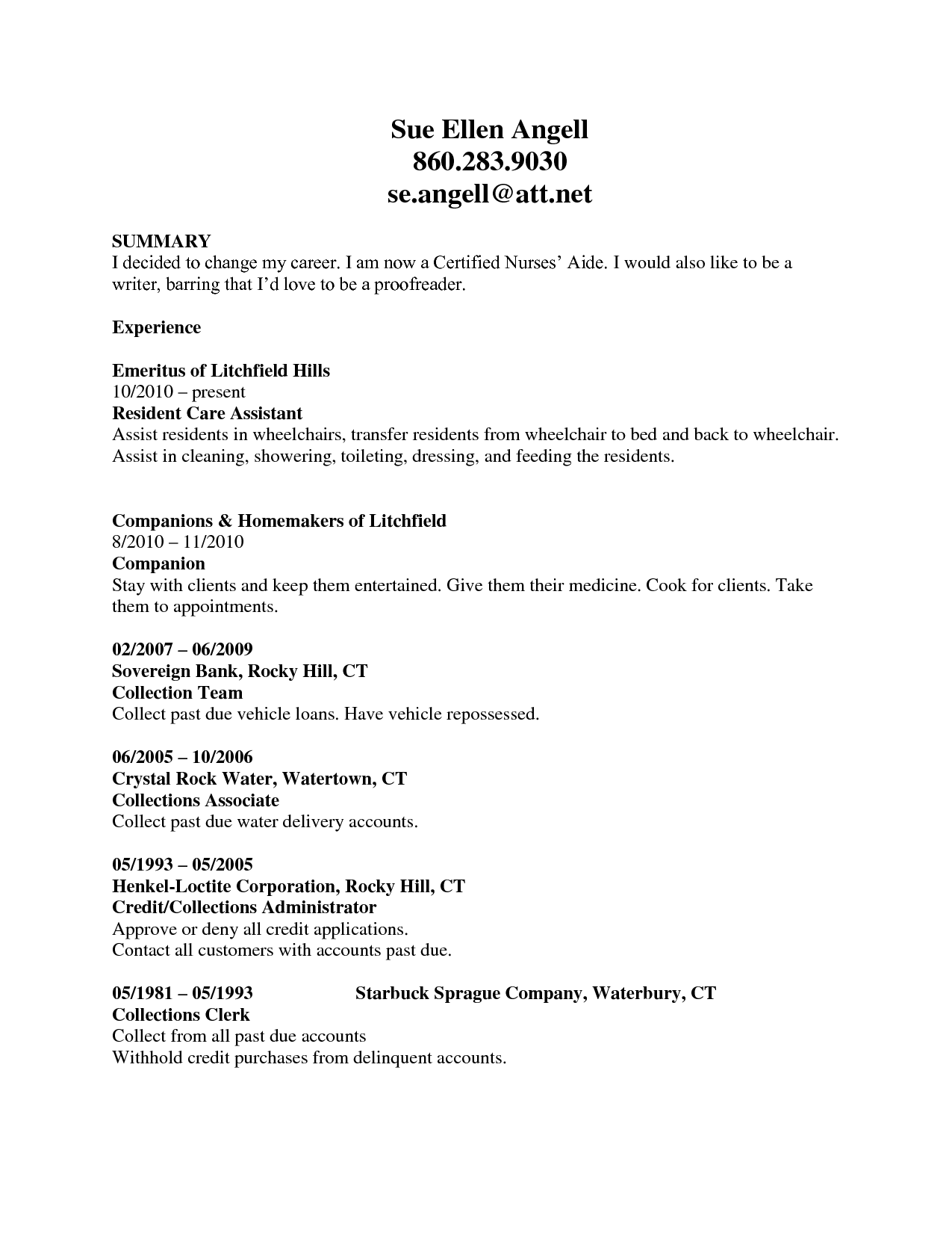 Resume Examples Cna Resumeexamples