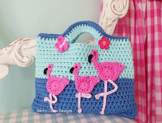 FLAMINGO CROCHET BAG Pattern Fun crochet bag by KerryJayneDesigns ...