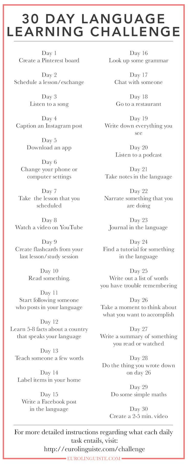 30 Day Language Learning Challenge #spanishthings