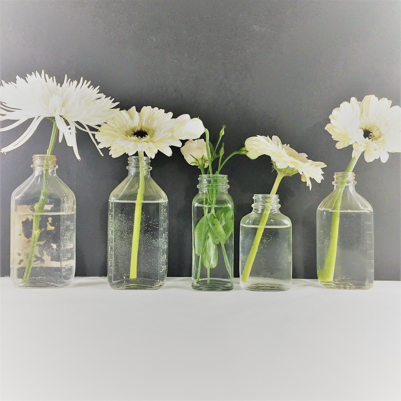 Vintage Medicine Bottles Vintage Glass Vase Mini Vase Set Of Five
