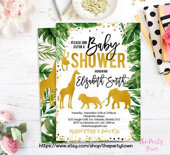 Jungle Baby Shower Invitation Wild Animal Invitations Safari Invite Lion Giraffe