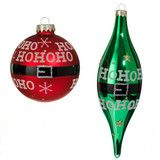 "Red and Green Glass ""HO HO HO"" Ornaments -   PerfectlyFestive"