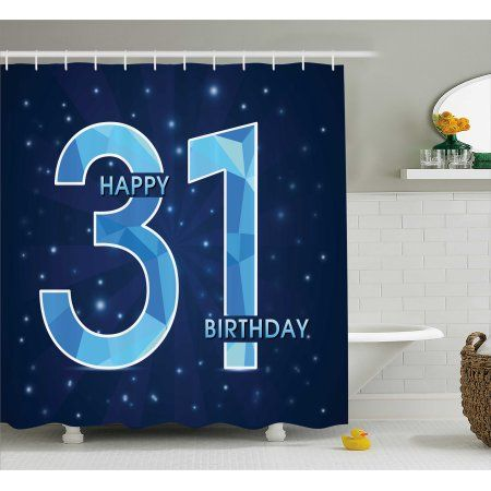 31st Birthday Decorations Shower Curtain Abstract Geometric Design