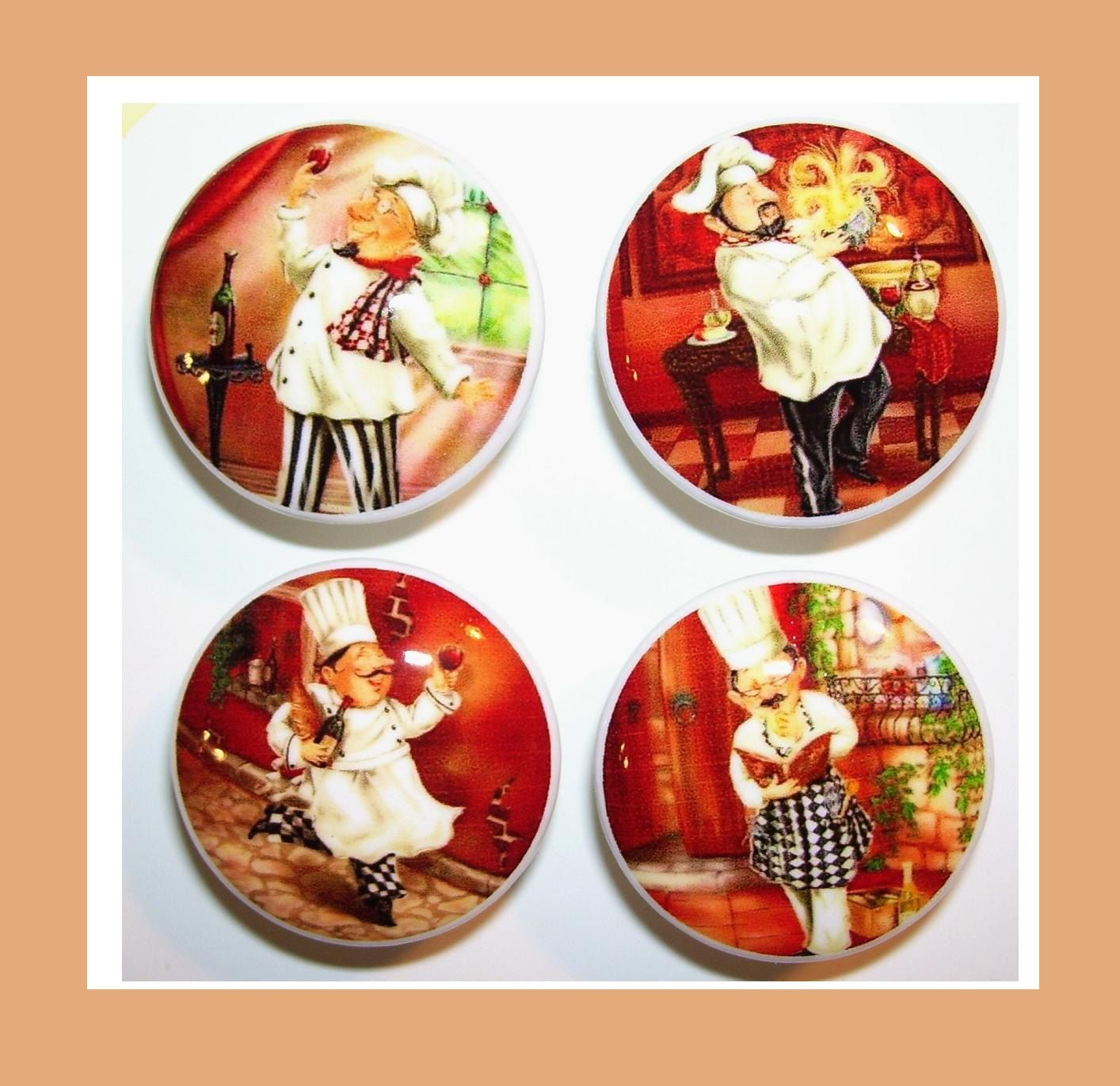 4 FAT CHEF Dresser Drawer Knobs