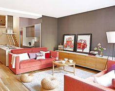 Salon gris, rouge et bois | canapé rouge | Pinterest | Salons ...