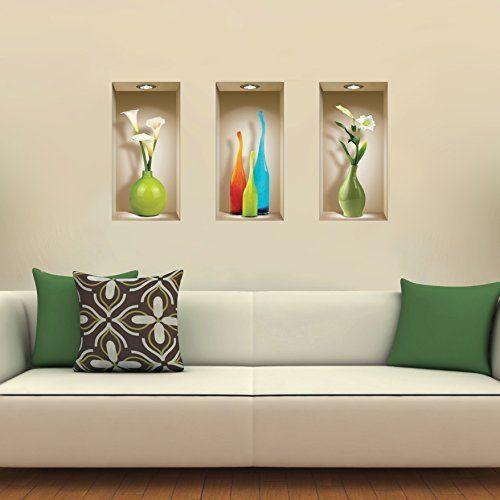 Pegatina de pared vinilo adhesivo efecto 3d decorativo for Pegatinas para dormitorios