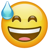 Grinning Face With Sweat Emoji On Whatsapp 2 19 352 Face Smiling Eyes Sweat