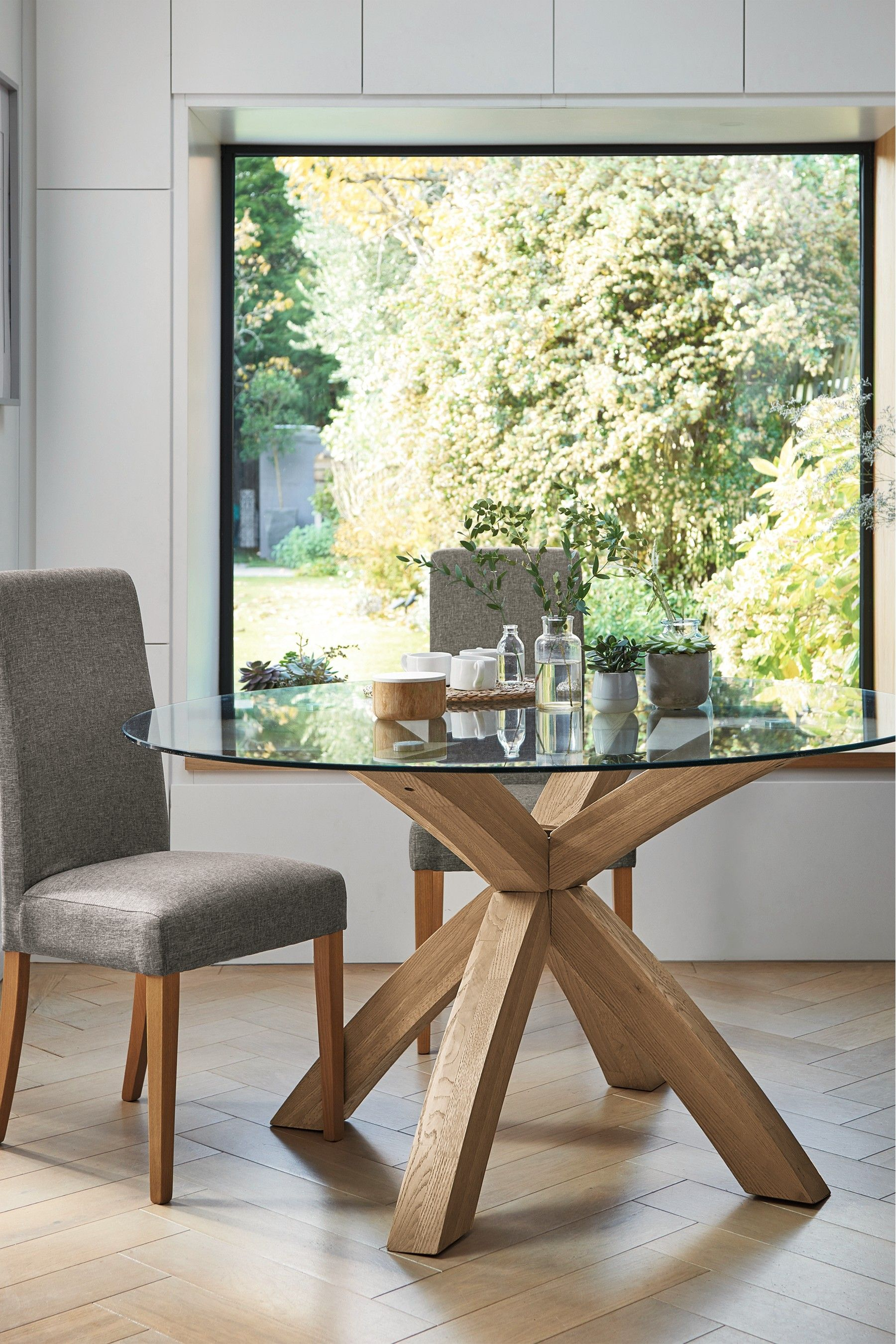 Next Oak Glass Round Dining Table Brown Glass Round Dining