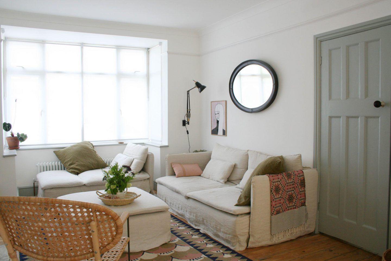 1930s House Living Room Ikea Soderhamn Sofas Bespoke Bemz Design Linen Sofa Covers House Of Rym Rug Living Spaces Home Living Room 1930s House Interior