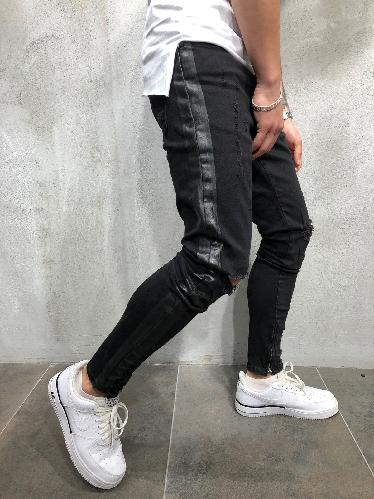 e0d94fb1 Ankle Zip Black Side Striped Jeans . Go for the kill wearing this ankle zip  jeans & look uber cool! . . . . #skinnyfit #MensWear #casualstyle
