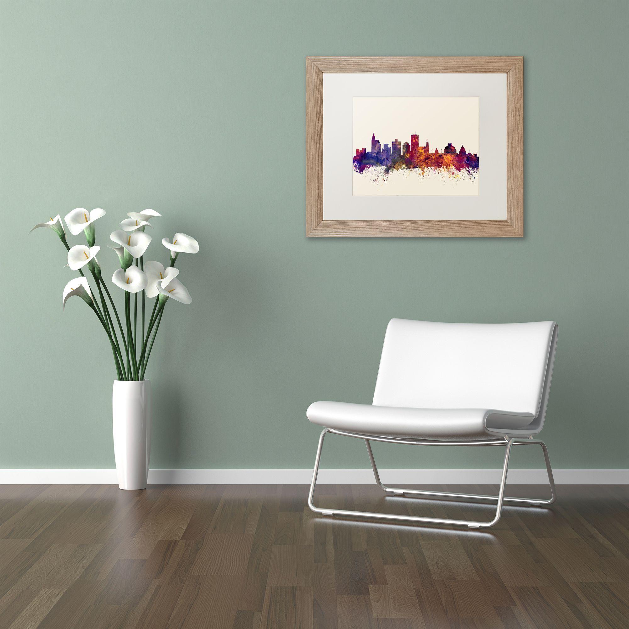 Michael Tompsett Jackson Mississippi Skyline Matted Framed Art
