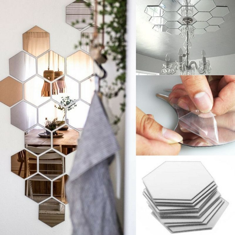 12 Piece Hexagonal Shape Self Adhesive Mirror Stickers