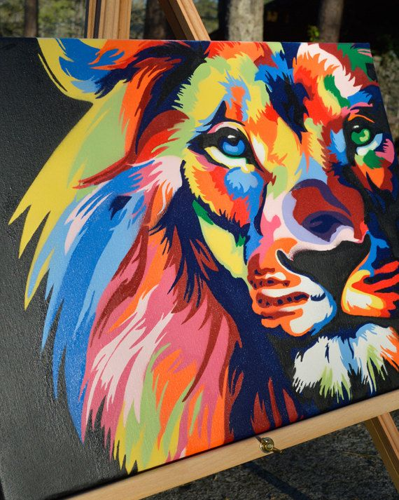Farbe Löwe - König des Dschungels - Graffiti-Kunst - Spray-Farbe - Leinwand #graffitiart